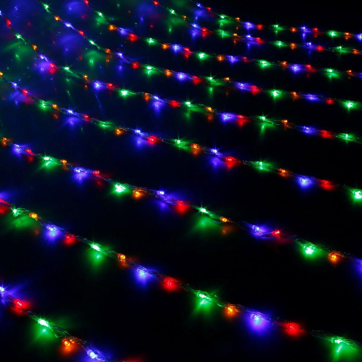 Гирлянда светодиодная Luazon Дождь, уличная, 8 режимов, 400 ламп, 220 V, цвет: мультиколор, 2 х 1,5 м. 671675671675Гирлянда светодиодная Дождь - это отличный вариант для новогоднего оформления интерьера или фасада. С ее помощью помещение любого размера можно превратить в праздничный зал, а внешние элементы зданий, украшенные гирляндой, мгновенно станут напоминать очертания сказочного дворца. Такое украшение создаст ауру предвкушения чуда. Деревья, фасады, витрины, окна и арки будто специально созданы, чтобы вы украсили их светящимися нитями.