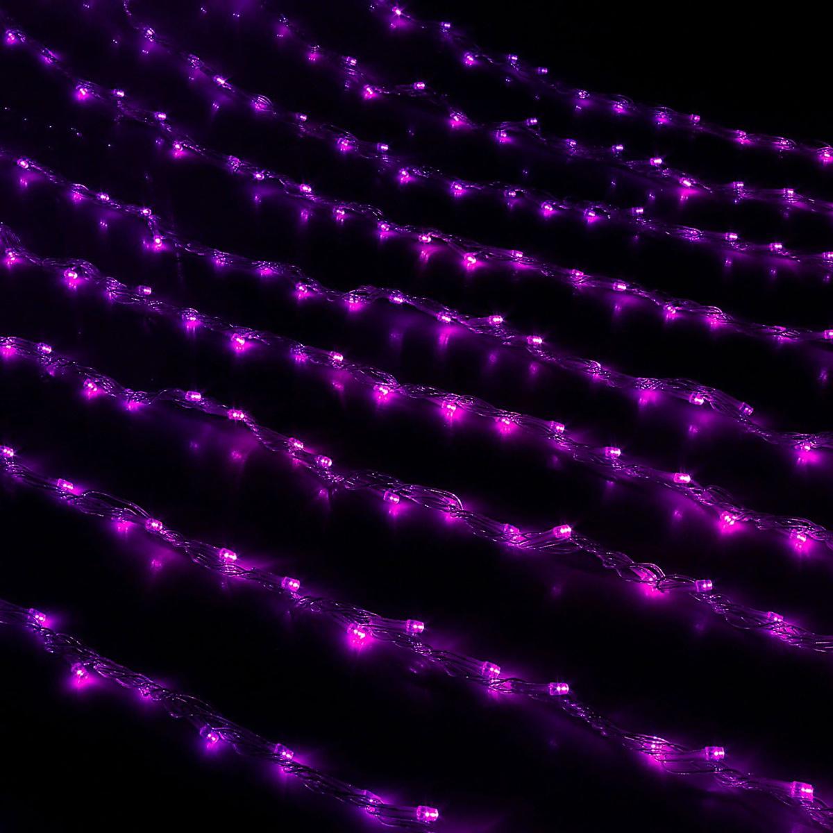 Гирлянда светодиодная Luazon Дождь, уличная, 8 режимов, 400 ламп, 220 V, цвет: фиолетовый, 2 х 1,5 м. 187293187293Гирлянда светодиодная Дождь - это отличный вариант для новогоднего оформления интерьера или фасада. С ее помощью помещение любого размера можно превратить в праздничный зал, а внешние элементы зданий, украшенные гирляндой, мгновенно станут напоминать очертания сказочного дворца. Такое украшение создаст ауру предвкушения чуда. Деревья, фасады, витрины, окна и арки будто специально созданы, чтобы вы украсили их светящимися нитями.