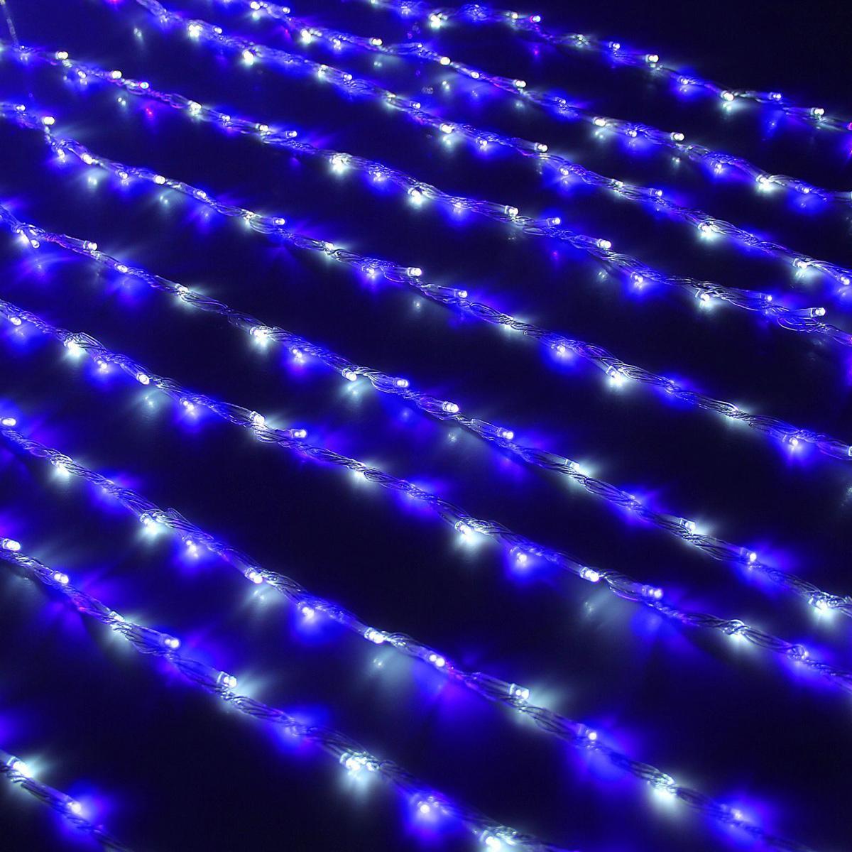 Гирлянда светодиодная Luazon Дождь, уличная, 8 режимов, 800 ламп, 220 V, цвет: белый, синий, 2 х 3 м. 1080187 гирлянда светодиодная luazon дождь уличная 8 режимов 400 ламп 220 v цвет мультиколор 2 х 1 5 м 671675