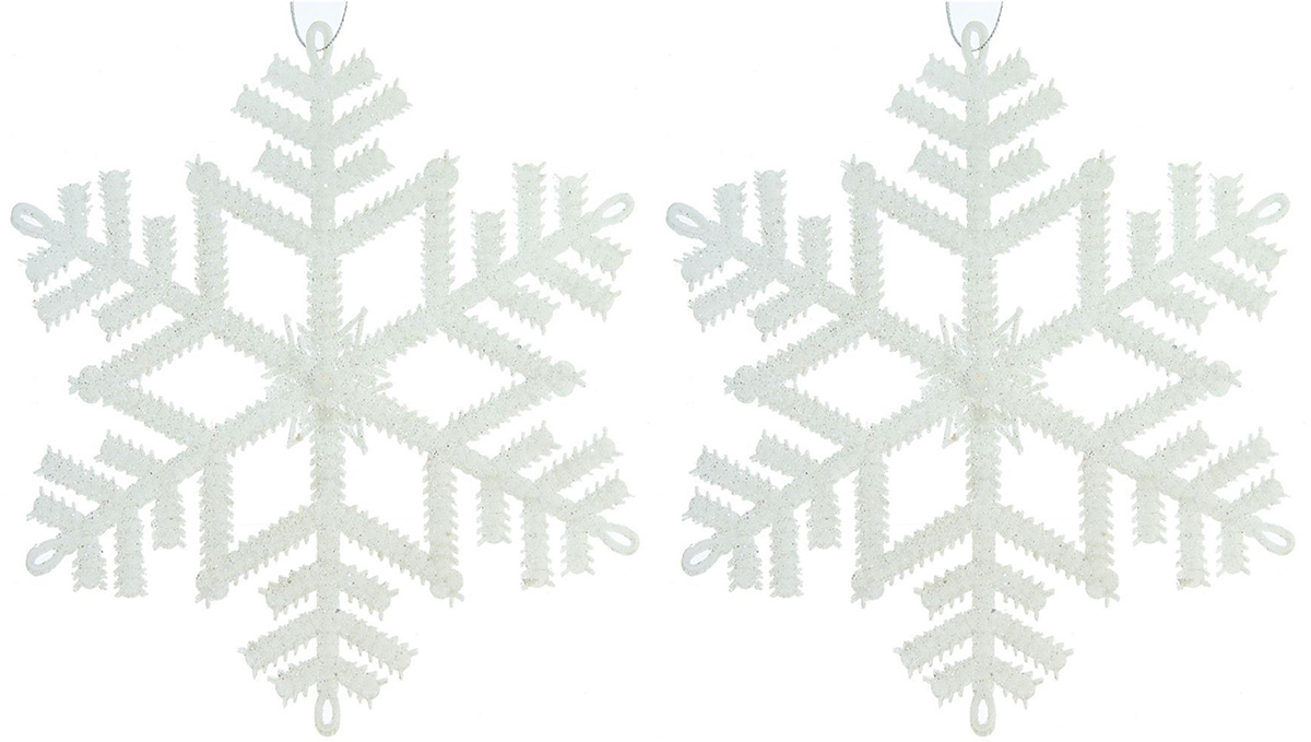 Набор новогодних подвесных украшений Белый перелив. Снежинки, 2 шт1113529Набор новогодних подвесных украшений отлично подойдет для декорации вашего дома и новогодней ели. Украшение можно повесить в любом понравившемся вам месте. Но, конечно, удачнее всего оно будет смотреться на праздничной елке.Елочная игрушка - символ Нового года. Она несет в себе волшебство и красоту праздника. Создайте в своем доме атмосферу веселья и радости, украшая новогоднюю елку нарядными игрушками, которые будут из года в год накапливать теплоту воспоминаний.