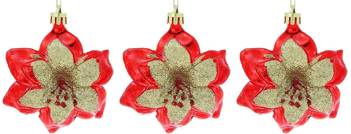 Набор новогодних подвесных украшений Красно-золотые цветы, 3 шт1116482Сочетание глянцевого блеска и мерцающих блесток создаст в доме атмосферу праздника. Нарядные елочные игрушки сделают интерьер торжественным и стильным. Подвески не только преобразят новогоднее дерево, их можно использовать и как отдельный декор. Украсьте помещение гармонично и со вкусом!