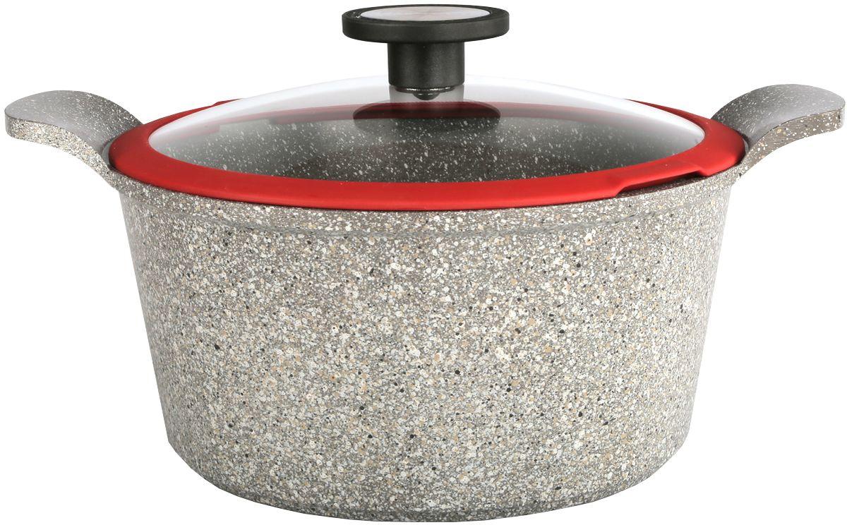 Кастрюля Frybest Ozen с крышкой, с керамическим антипригарным покрытием, цвет: светло-серый, 2,4 л