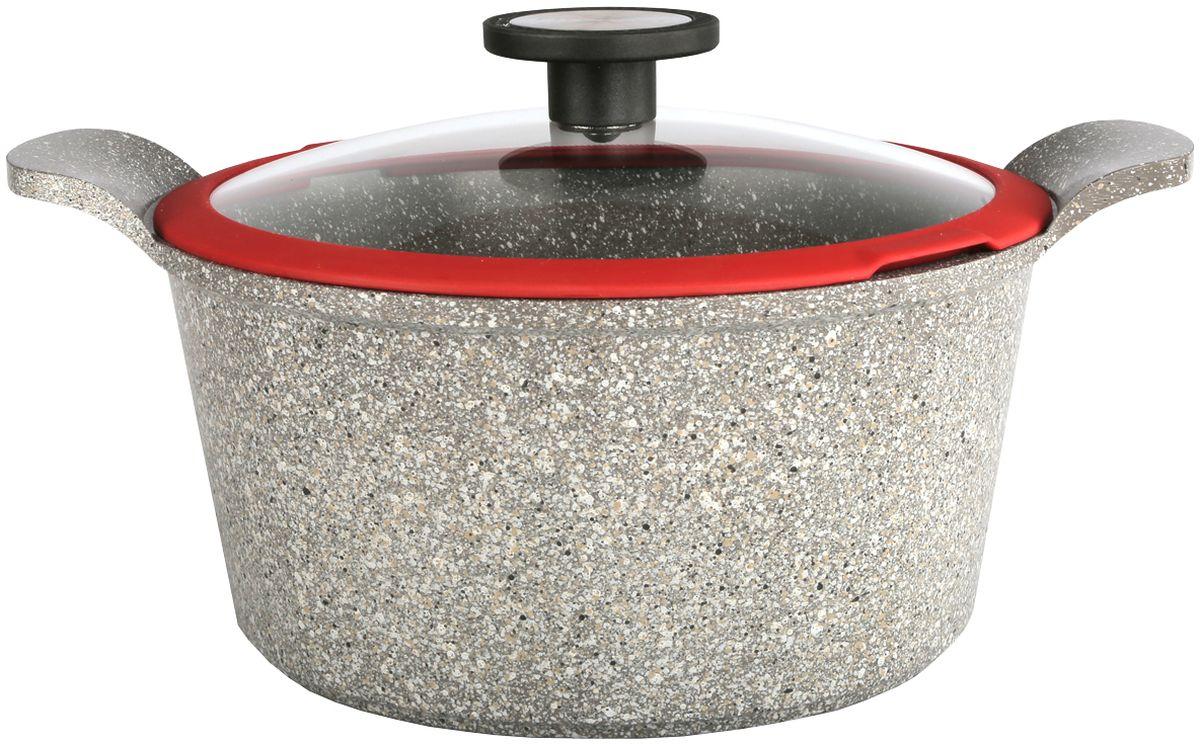 цена на Кастрюля Frybest Ozen, с крышкой, с керамическим антипригарным покрытием, цвет: светло-серый, 4,5 л