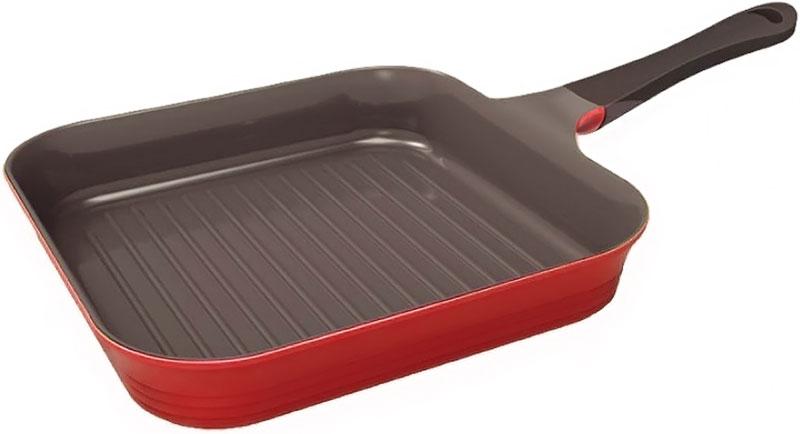 Сковорода-гриль Frybest Bordo, с керамическим антипригарным покрытием, цвет: бордовый. Диаметр 28 см