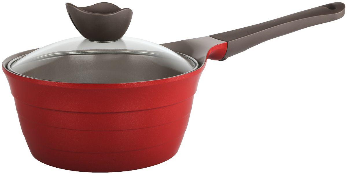 Ковш Frybest Bordo, с крышкой, с керамическим антипригарным покрытием, цвет: бордовый, 1,9 л молочник frybest care с керамическим покрытием цвет бежевый 1 1 л