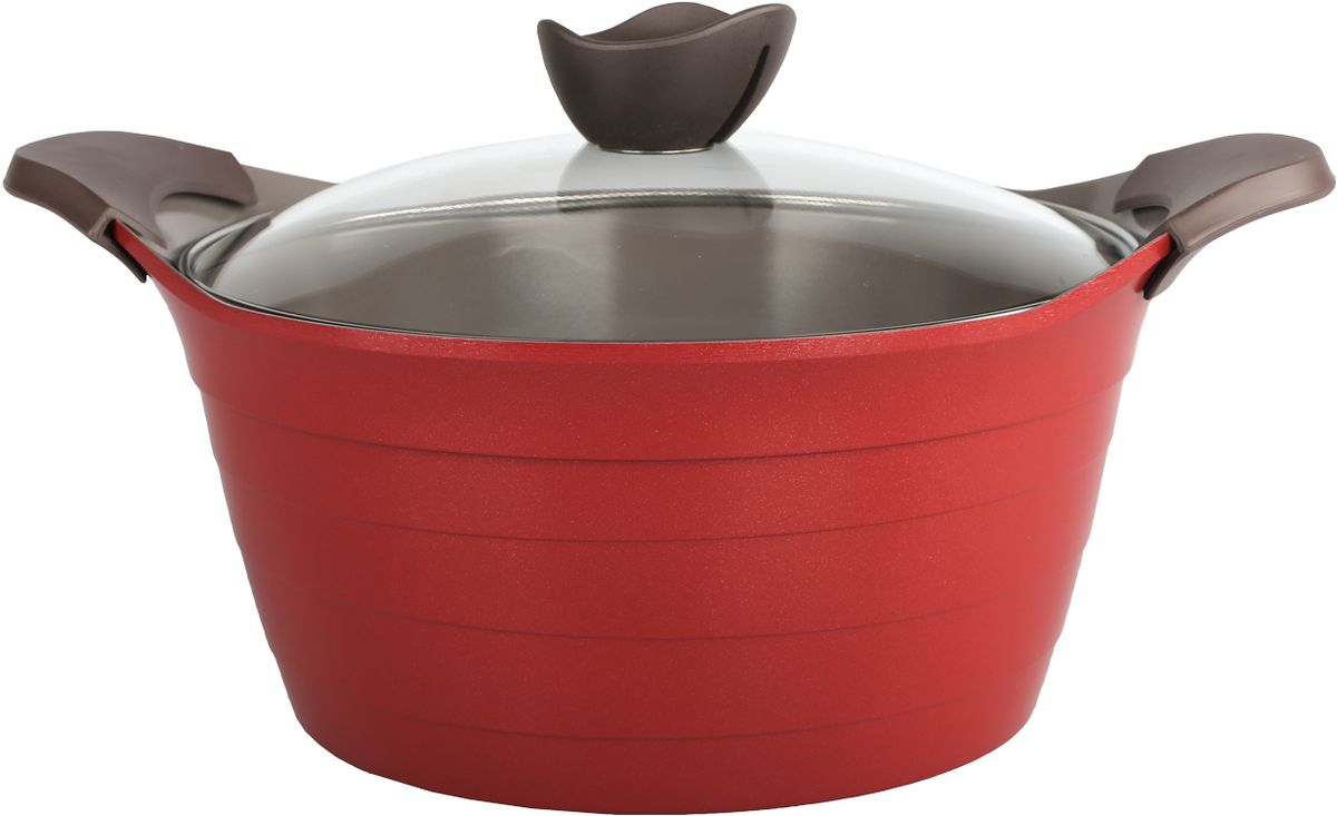Кастрюля Frybest Bordo с крышкой, с керамическим антипригарным покрытием, цвет: бордовый, 2,4 л