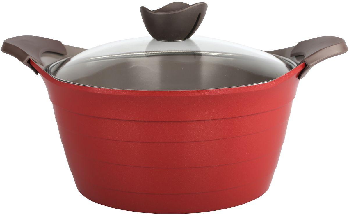 Кастрюля Frybest Bordo с крышкой, с керамическим антипригарным покрытием, цвет: бордовый, 4,5 л