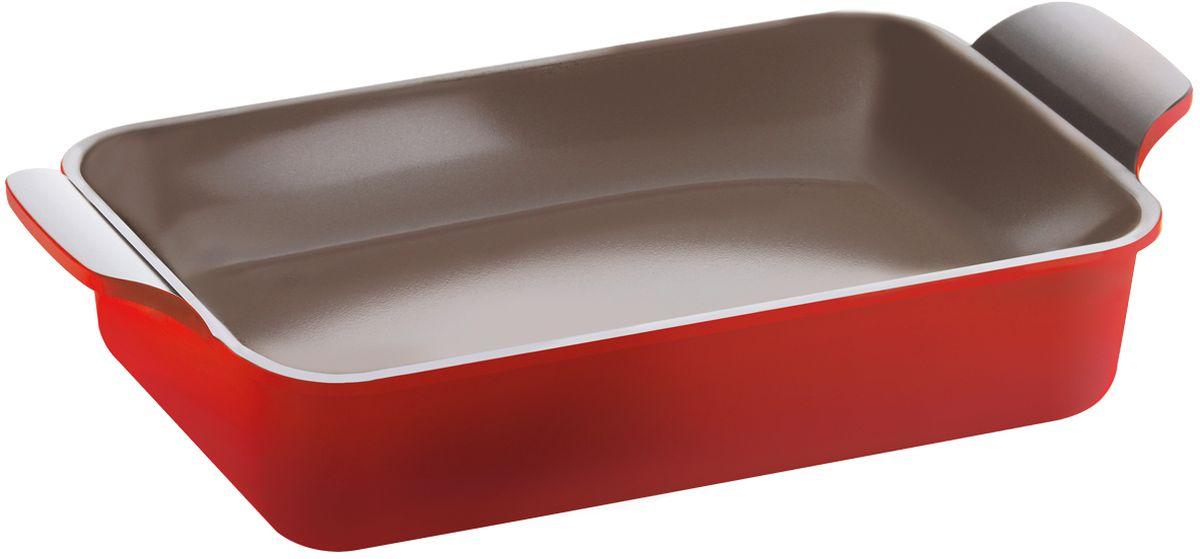 Форма для запекания Frybest Bordo, с керамическим антипригарным покрытием, цвет: бордовый, 44 х 22 см + ПОДАРОК: прихваткиBordo-44PФорма для запекания Frybest Bordo подходит для приготовления блюд в духовке. Изделие изготовлено из литого алюминия с антипригарным керамическим покрытием, которое обеспечивает экологичность выпекаемых в форме блюд - в процессе приготовления не происходит никаких вредных реакций с пищей. Благодаря толстым стенкам и дну в форме особенно удаются запеченные блюда и выпечка - они полностью пропекаются и не пригорают. Изделие имеет утолщенное дно и две ненагревающиеся ручки по бокам для удобного захвата.Форма подходит для газовых, электрических, керамических плит, можно мыть в посудомоечной машине. В подарок к форме прилагаются прихватки.
