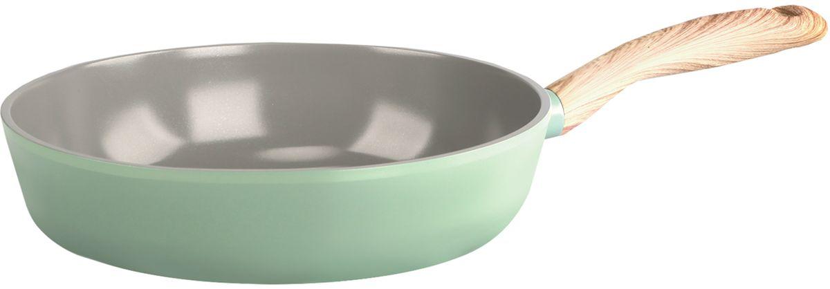 Сковорода Frybest, с керамическим антипригарным покрытием, цвет: светло-зеленый. Диаметр 24 см