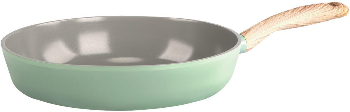 Сковорода Frybest, с керамическим антипригарным покрытием, цвет: светло-зеленый. Диаметр 28 см