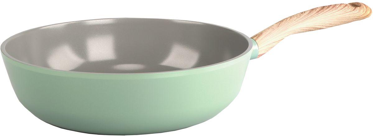 Сотейник Frybest, с керамическим антипригарным покрытием, цвет: светло-зеленый. Диаметр 18 см сотейник frybest charm c 18