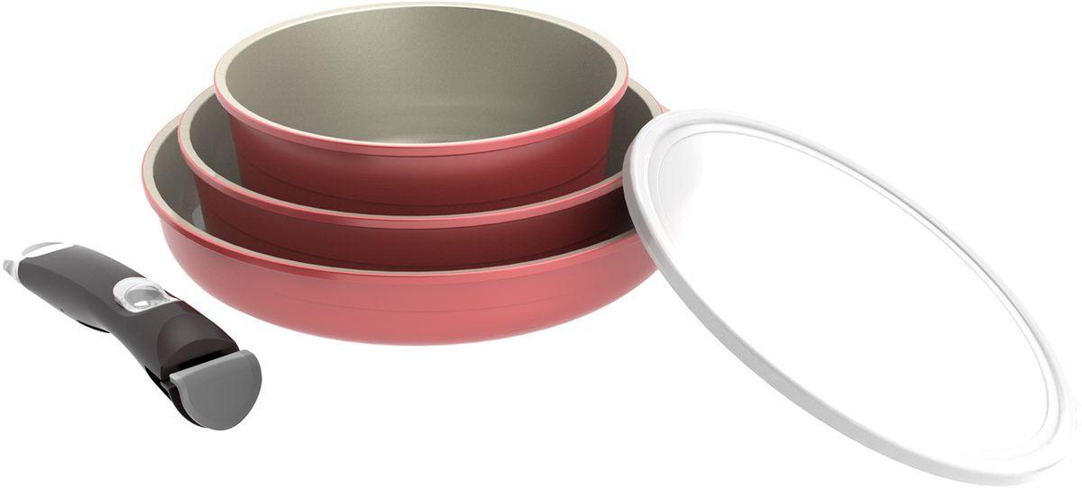 Набор посуды Frybest Splendid, с керамическим антипригарным покрытием, со съемной ручкой, цвет: светло-розовый, 4 предмета набор посуды korkmaz serena c керамическим покрытием цвет бежевый 3 предмета