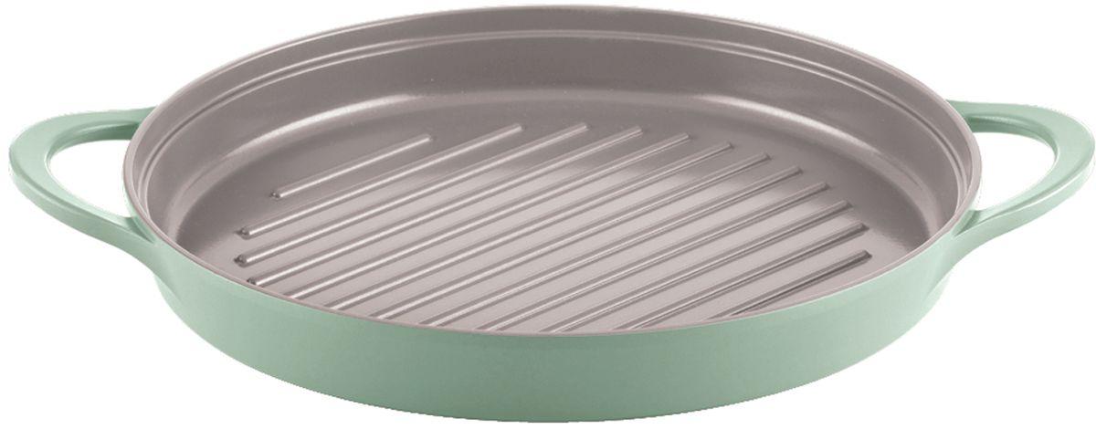 Сковорода-гриль Frybest, с керамическим антипригарным покрытием, цвет: светло-зеленый. Диаметр 26 см + ПОДАРОК: прихватки