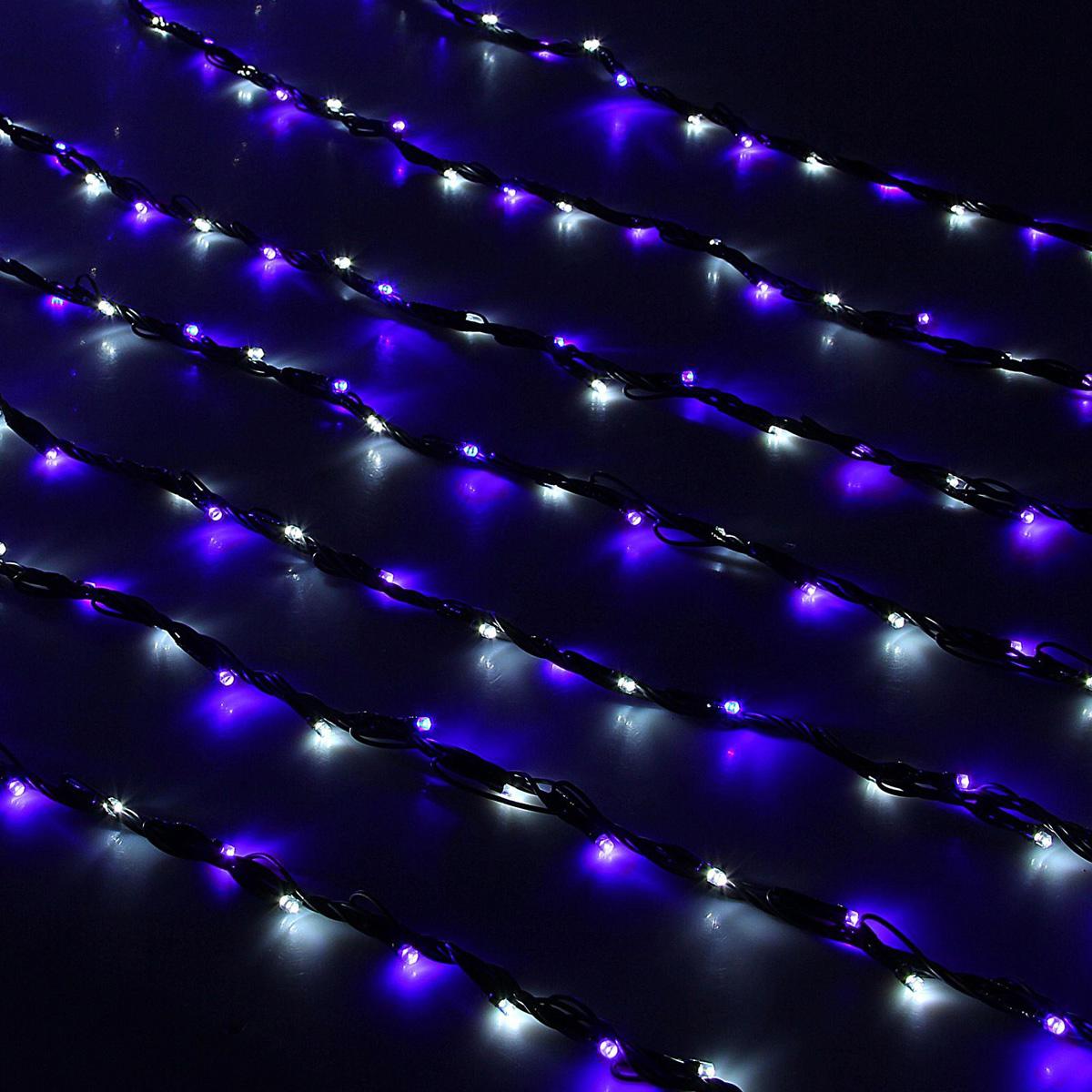 Гирлянда светодиодная Luazon Дождь, уличная, 800 ламп, 220 V, цвет: белый, синий, 2 х 3 м. 10801961080196Светодиодные гирлянды, ленты и т.д — это отличный вариант для новогоднего оформления интерьера или фасада. С их помощью помещение любого размера можно превратить в праздничный зал, а внешние элементы зданий, украшенные ими, мгновенно станут напоминать очертания сказочного дворца. Такие украшения создают ауру предвкушения чуда. Деревья, фасады, витрины, окна и арки будто специально созданы, чтобы вы украсили их светящимися нитями.