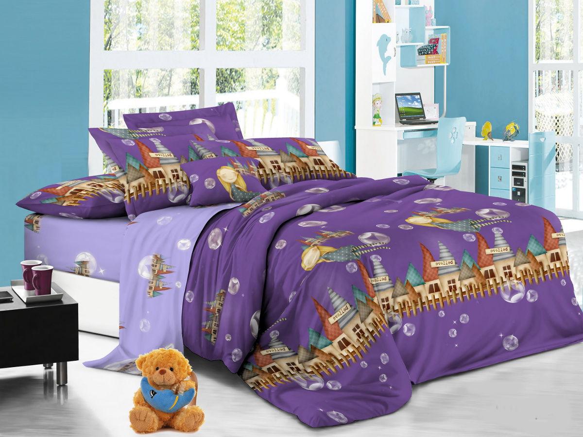 Cleo Комплект детского постельного белья Волшебный замок 1,5 спальный цвет фиолетовый -  Детский текстиль