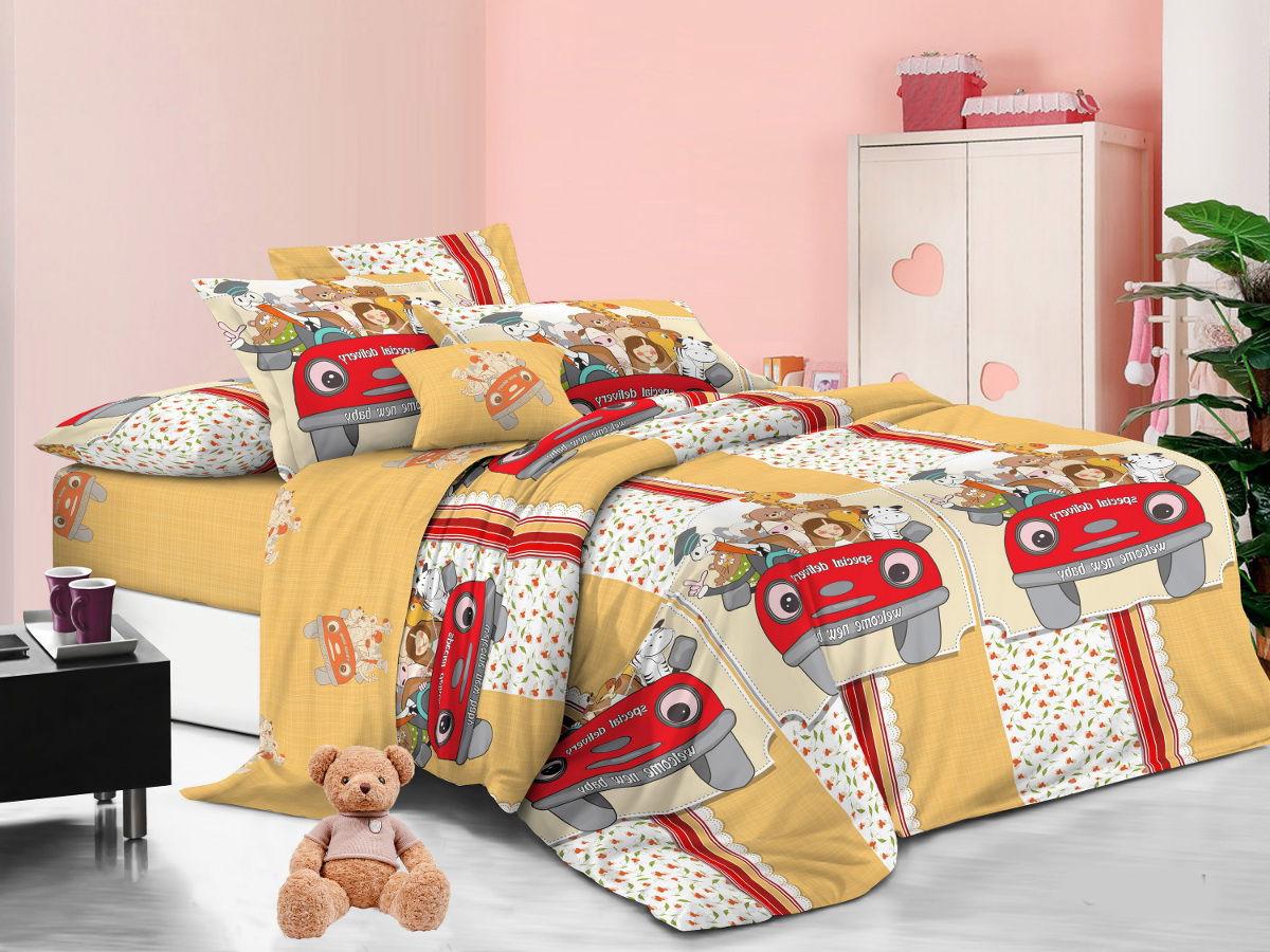Cleo Комплект детского постельного белья Веселая компания 1,5 спальный цвет желтый -  Детский текстиль