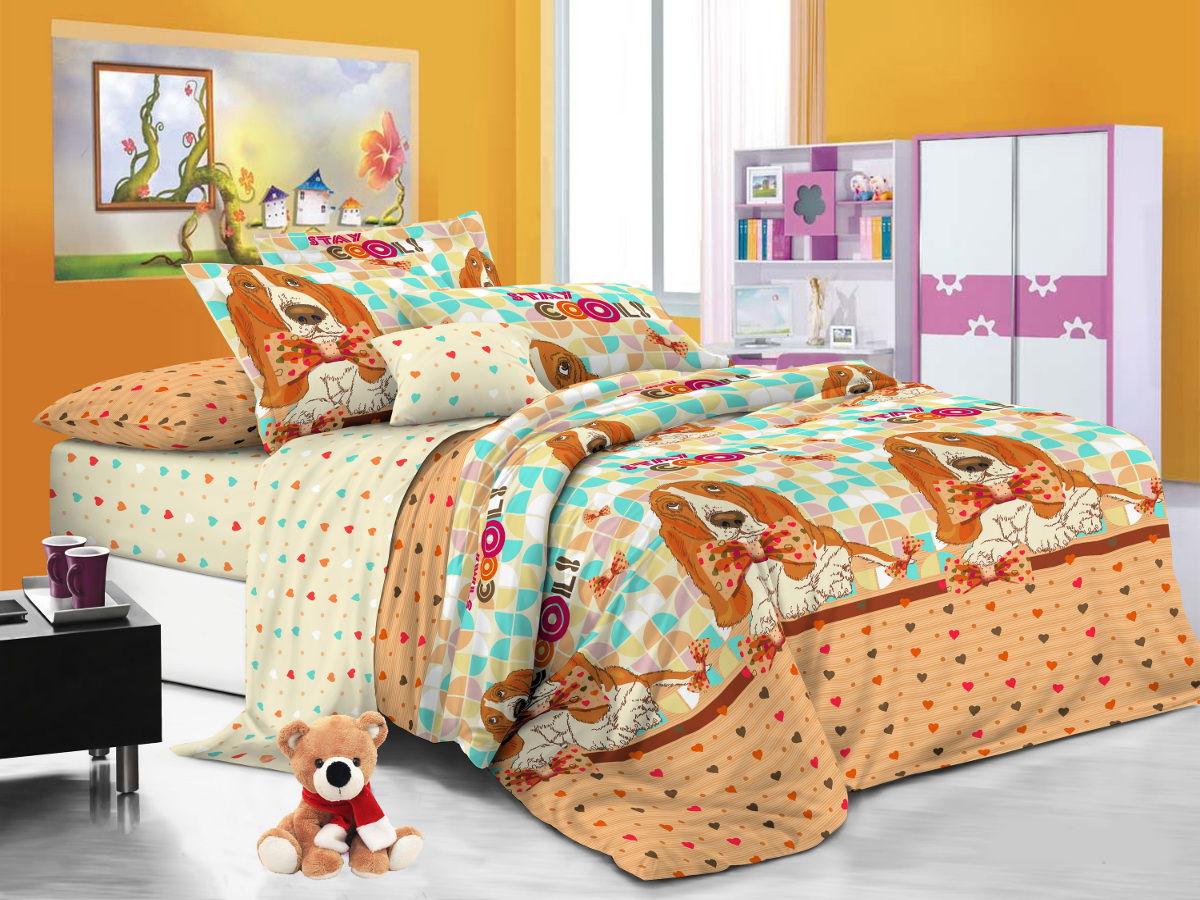 Cleo Комплект детского постельного белья Бассет 1,5 спальный цвет оранжевый -  Детский текстиль