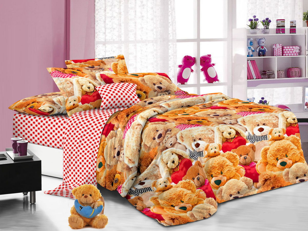 Cleo Комплект детского постельного белья Мишки 1,5 спальный цвет оранжевый