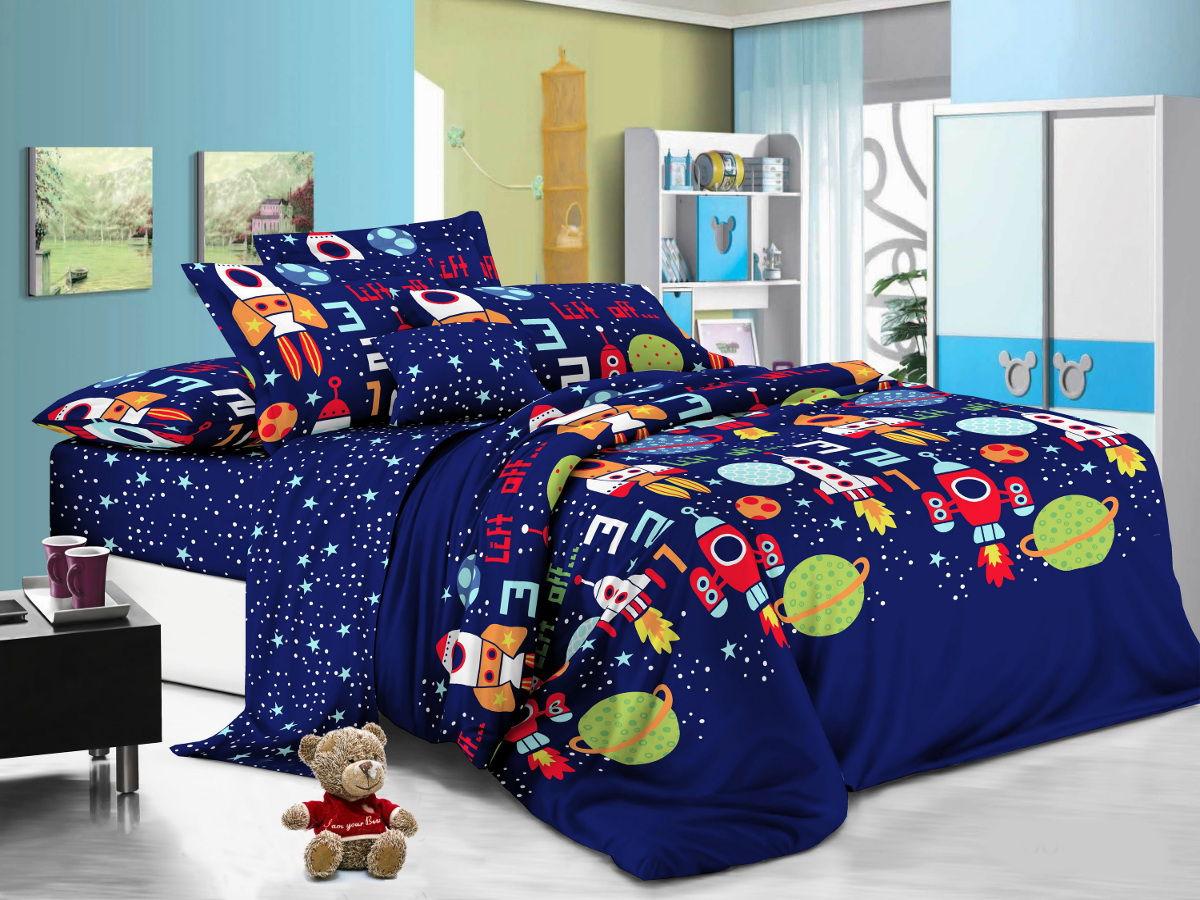 Cleo Комплект детского постельного белья Космики 1,5 спальный цвет синий -  Детский текстиль