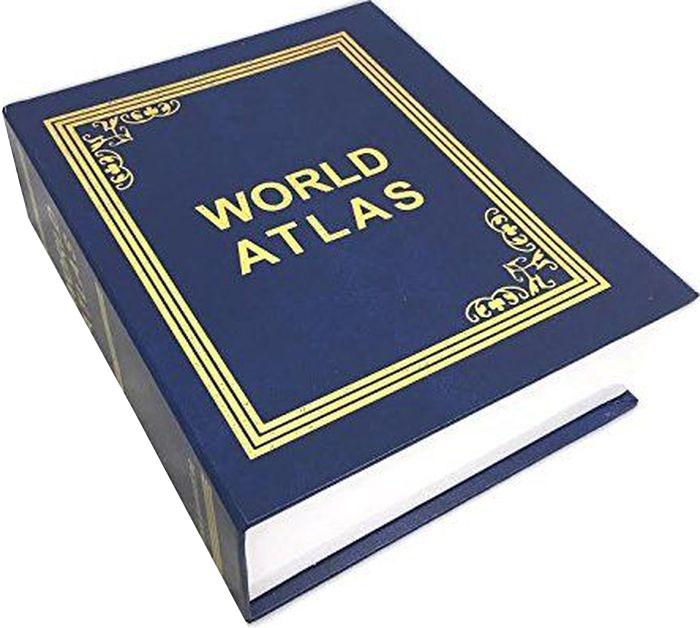 """Книга-сейф Эврика """"Атлас Мира"""" - точная имитация книги. Будучи поставленным на книжную  полку, он ловко затеряется среди настоящей литературы, сохранив в тайне ваши секреты или  сбережения. В оформлении применено тиснение золотистой фольгой. Внутри пластикового  корпуса находится металлическое хранилище с надежным кодовым замком. Для смены кода  необходимо перевести рычажок в положение установки кода, после установки вернуть в рабочее  положение."""