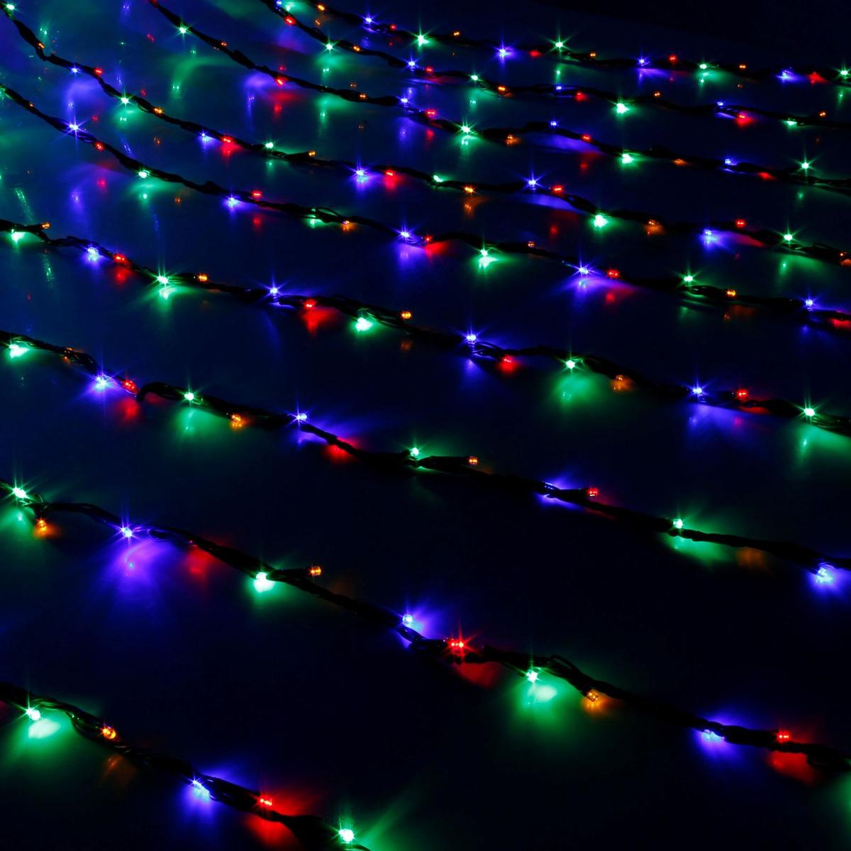 Гирлянда светодиодная Luazon Дождь, уличная, 800 ламп, 220 V, цвет: мультиколор, 2 х 3 м. 187323 гирлянда светодиодная luazon дождь уличная 8 режимов 400 ламп 220 v цвет мультиколор 2 х 1 5 м 671675