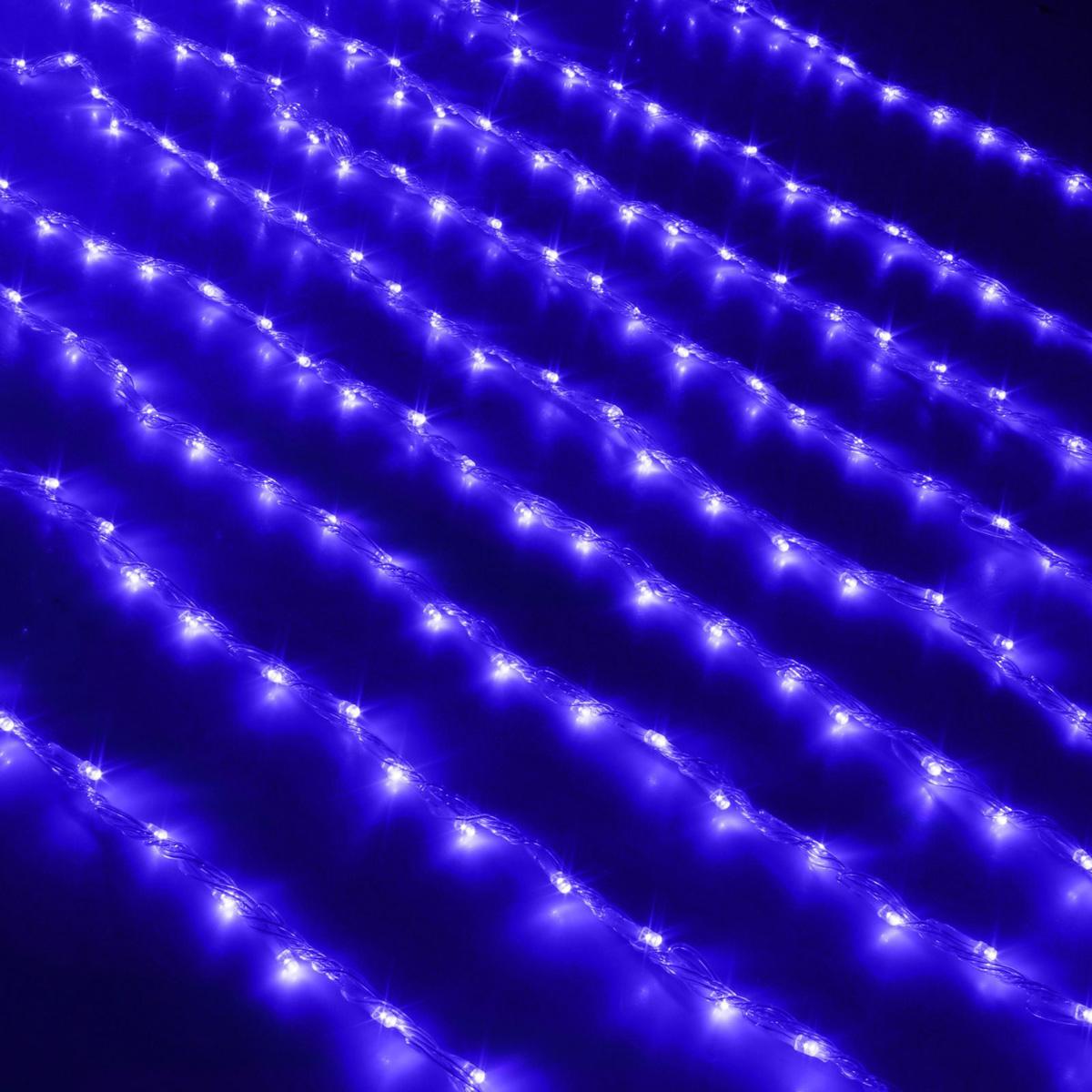 Гирлянда светодиодная Luazon Дождь, уличная, 800 ламп, 220 V, цвет: синий, 2 х 3 м. 187317187317Светодиодные гирлянды, ленты и т.д — это отличный вариант для новогоднего оформления интерьера или фасада. С их помощью помещение любого размера можно превратить в праздничный зал, а внешние элементы зданий, украшенные ими, мгновенно станут напоминать очертания сказочного дворца. Такие украшения создают ауру предвкушения чуда. Деревья, фасады, витрины, окна и арки будто специально созданы, чтобы вы украсили их светящимися нитями.