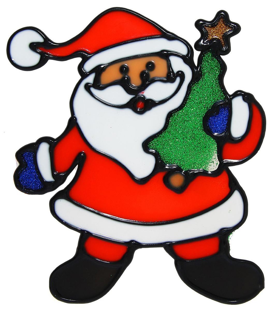 Наклейка на стекло Веселый Дед Мороз с елкой1113553Зимой не только мороз украшает стекла узорами. Сделайте интерьер еще торжественней: преобразите его с помощью специальных наклеек! Декор из силикона не содержит клей и не оставляет следов. Пластичная фигурка сама прилипает к гладкой поверхности, а в конце зимних праздников ее легко снять и отложить до следующего года. Прикрепите на стекло или зеркало одно украшение или создайте целую композицию. Новогодние наклейки приблизят праздничное настроение!
