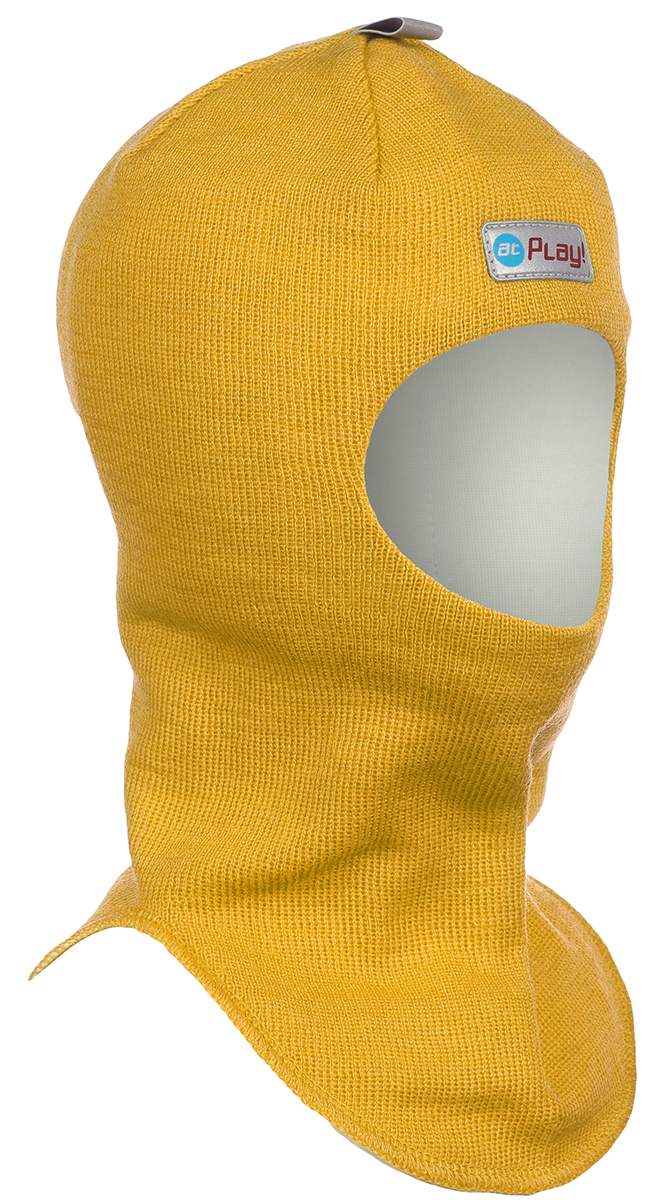Шапка-шлем детская atPlay!, цвет: желтый. 3hel770. Размер 46/503hel770Детская шапка-шлем от atPlay! обеспечит максимальную защиту головы и шеи ребенка при сильном ветре или морозе. Она плотно прилегает к голове, прикрывая уши, лоб и подбородок. Области лба и ушей утеплены дополнительно. Подкладка выполнена из мягкой хлопковой ткани, не вызывающей раздражений на нежной коже ребенка.