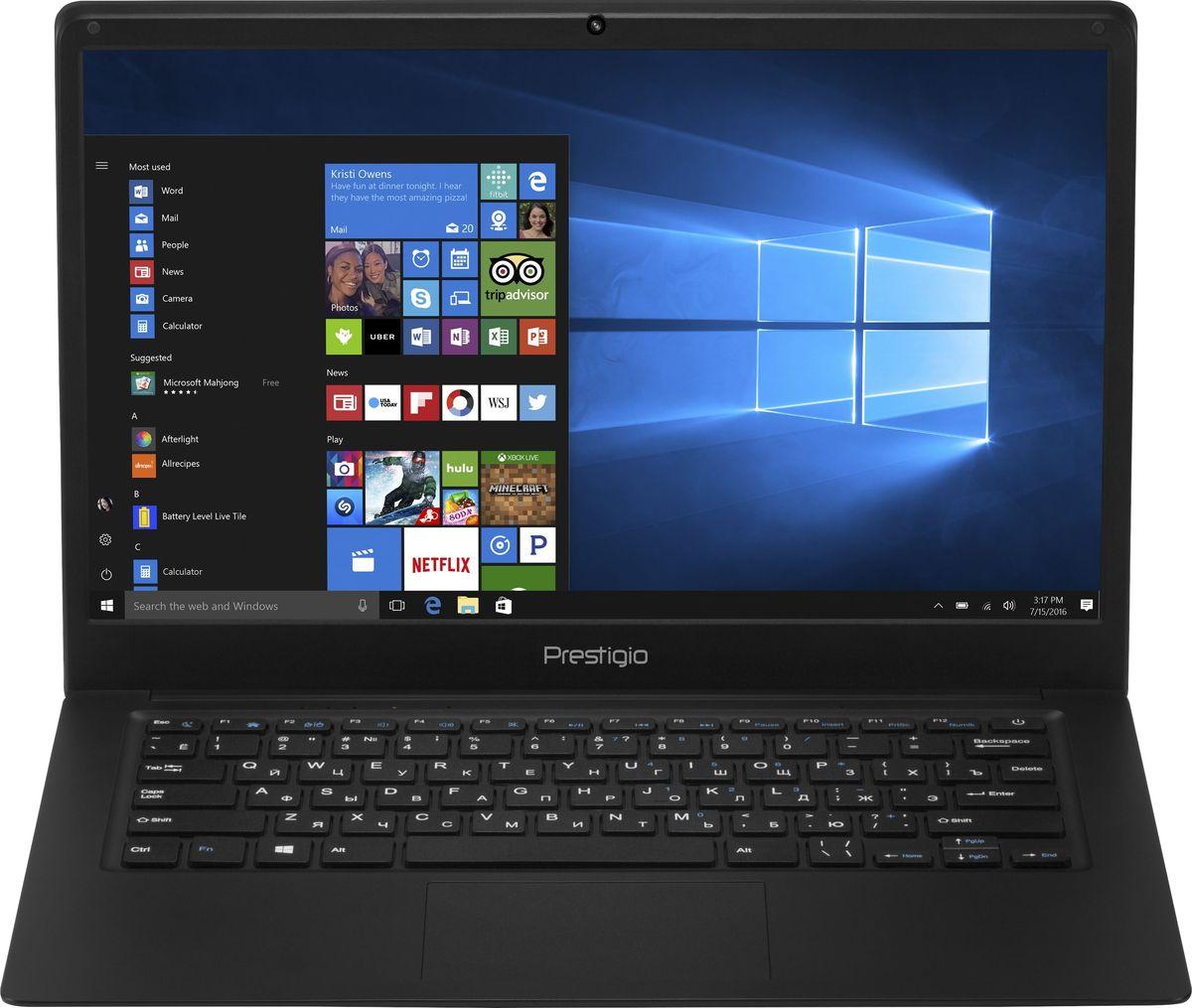 Prestigio Smartbook 141C, Black (PSB141C01BFP)8595248139480Prestigio Smartbook 141С - современный и удобный ноутбук с экраном 14.1, полной версией ОС Windows и универсальным набором портов, который с успехом может заменить ваш стационарный компьютер. Для этого у модели есть все преимущества - полноразмерная клавиатура, производительный процессор с эффективной поддержкой многозадачности и улучшенным режимом энергосбережения.4-ядерный процессор Intel Atom Z8350 (частота до 1,92 ГГц) позволяет ноутбуку выполнять разнообразные задачи без особых усилий. 2 ГБ оперативной памяти и 32 ГБ внутренней памяти помогают ноутбуку работать в режиме многозадачности. При необходимости объем внутреннего хранилища можно увеличить с помощью карты microSD до 128 ГБ. Эффективное управление потреблением энергии и ёмкость батареи 9000 мАч позволяют устройству проработать до 8 часов без подзарядки, чего вполне достаточно для целого рабочего дня.Яркий и контрастный 14.1-дюймовый экран с Full HD разрешением и IPS матрицей обеспечивают чёткое изображение и насыщенные цвета.Небольшая толщина Smartbook 141С (всего 2.3 см) и вес 1,45 кг позволяют его брать с собой и находиться на связи в любой точке мира - вы по достоинству оцените свободу перемещений.С Windows 10 Pro, установленной на Smartbook 141C, вы сможете наслаждаться всеми преимуществами современной операционной системы. Интуитивно понятный интерфейс поможет быстрее и эффективнее справляться с задачами, улучшенная производительность позволит вам почувствовать новый уровень мощности, а благодаря дополнительным сервисам и приложениям каждая секунда с новым устройством будет полна комфорта и восхищения.Smartbook 141С не нуждается в переходниках: универсальный набор портов позволяет организовать мобильный офис в считанные минуты. С помощью порта mini HDMI, полноразмерного USB 3.0 и USB 2.0 вы без проблем подключите большой экран, мышь, принтер или сканер.Точные характеристики зависят от модификации.Ноутбук сертифицирован EAC и имеет русифициро