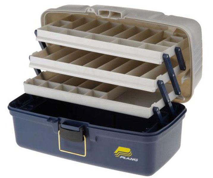Ящик рыболовный Plano, с 4-х уровневой системой хранения приманок, цвет: синий6133-06Вместительный четырехуровневый рыболовный ящик Plano предназначен для хранения и транспортировки рыболовных снастей, приманок, инструмента и прочих принадлежностей для рыбалки. Поднимающиеся вверх три поддона для мелких предметов с многочисленными отделениями. С помощью входящих в комплект сменных перегородок количество отсеков ящика для приманок Plano вы можете изменять с 27-ми до 37-ми. Вместительная нижняя часть (отделение) для хранения крупных предметов (катушки, инструменты, фонарики, органайзеры Plano и т. п.). Ящик для рыбалки изготовлен из ударопрочного пластика, устойчивого к воздействию силикона (силиконовые приманки).Габаритные размеры 489 х 254 х 248 мм .