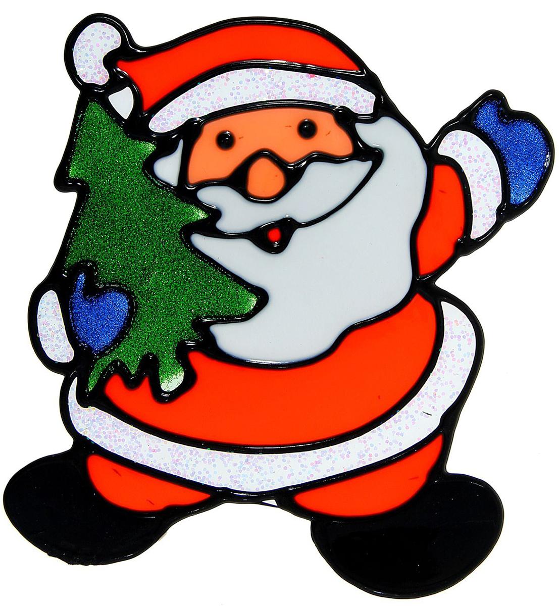Украшение новогоднее оконное Дед Мороз с елкой, 14 х 15,5 см опасные гастроли