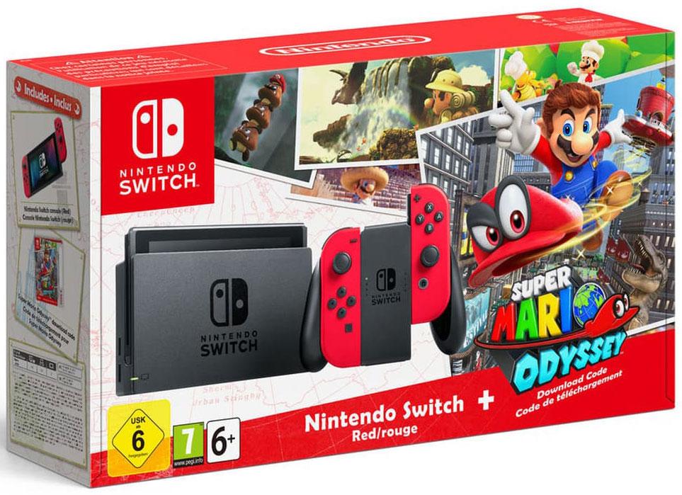 Игровая консоль Nintendo Switch, Red + Super Mario OdysseyConSWT8Комплект поставки включает саму консоль, код загрузки для Super Mario Odyssey, эксклюзивные ярко-красные контроллеры Joy-Con, держатель Joy-Con (к которому присоединяются оба Joy-Con для использования в качестве единого контроллера), набор ремешков Joy-Con, док-станцию Nintendo Switch, кабель HDMI и блок питания.Nintendo Switch — инновационная игровая консоль-гибрид. Ее не только можно подключить к телевизору, она также мгновенно превращается в портативную игровую систему с экраном 6,2 дюйма. Впервые игроки смогут наслаждаться масштабными игровыми проектами где угодно и когда угодно. Игровая консоль поддерживает amiibo и мультиплеер на 8 человек.Super Mario Odyssey — самое масштабное приключение Марио в открытом мире. Поднимайтесь на борт летучего корабля «Одиссея» и отправляйтесь исследовать новые царства. Посетите удивительные места, включая мегаполис Нью-Донк с многочисленными небоскребами. Повстречайтесь с хорошо знакомыми друзьями и врагами, спасите принцессу Пич и сорвите коварные свадебные планы Боузера.