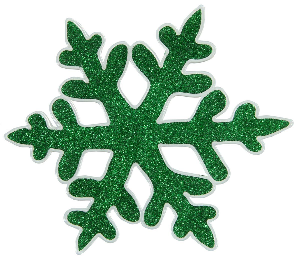 Украшение новогоднее оконное Зеленая снежинка с блестками, 14,5 х 14,5 см1116515Новогоднее оконное украшение Дед Мороз со звездным мешком поможет украсить дом к предстоящим праздникам. Яркая наклейка крепится к гладкой поверхности стекла посредством статического эффекта. С помощью такого украшения вы сможете оживить интерьер по своему вкусу.Новогодние украшения всегда несут в себе волшебство и красоту праздника. Создайте в своем доме атмосферу тепла, веселья и радости, украшая его всей семьей.