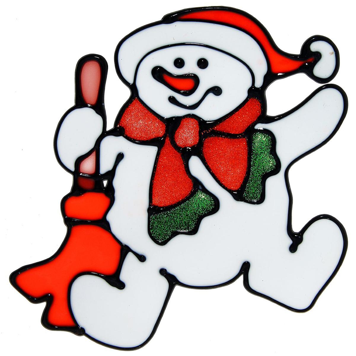 Наклейка на стекло Снеговик с метлой1113568Зимой не только мороз украшает стекла узорами. Сделайте интерьер еще торжественней: преобразите его с помощью специальных наклеек! Декор из силикона не содержит клей и не оставляет следов. Пластичная фигурка сама прилипает к гладкой поверхности, а в конце зимних праздников ее легко снять и отложить до следующего года. Прикрепите на стекло или зеркало одно украшение или создайте целую композицию. Новогодние наклейки приблизят праздничное настроение!