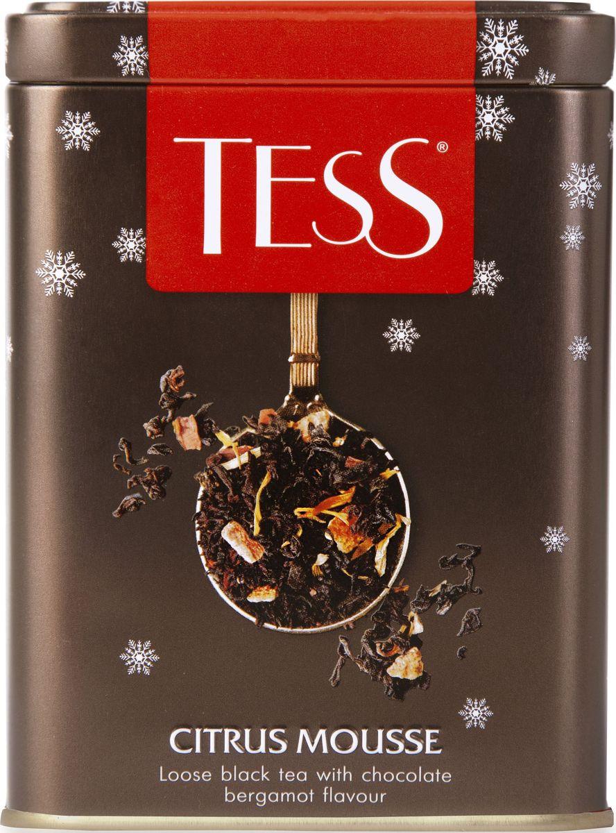 Tess Citrus Mousse черный листовой чай с ароматом шоколадного бергамота, 110 г1304-20Композиция Citrus Mousse - шоколадная фантазия на тему классического чая Эрл Грей. Цейлонский чай и бергамот, обязательные для исторического рецепта, в купаже Citrus Mousse дополнены великолепным вкусом горького шоколада и сладковатой искрой