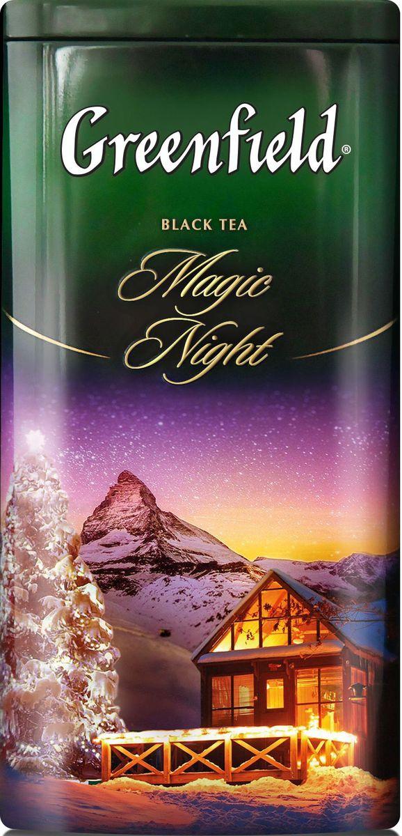 Greenfield Magic night черный листовой чай с ароматом цитрусового грога, 120 г greenfield winter charm черный листовой чай с ароматом красных ягод и можжевельника 120 г