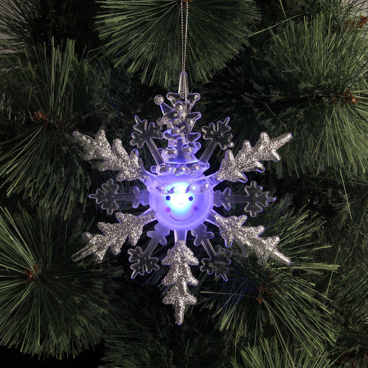 Подвесное украшение праздничное Luazon Lighting Снежинка-снеговик, с подсветкой, цвет: серебряный украшение luazon снежинка blue 2314974