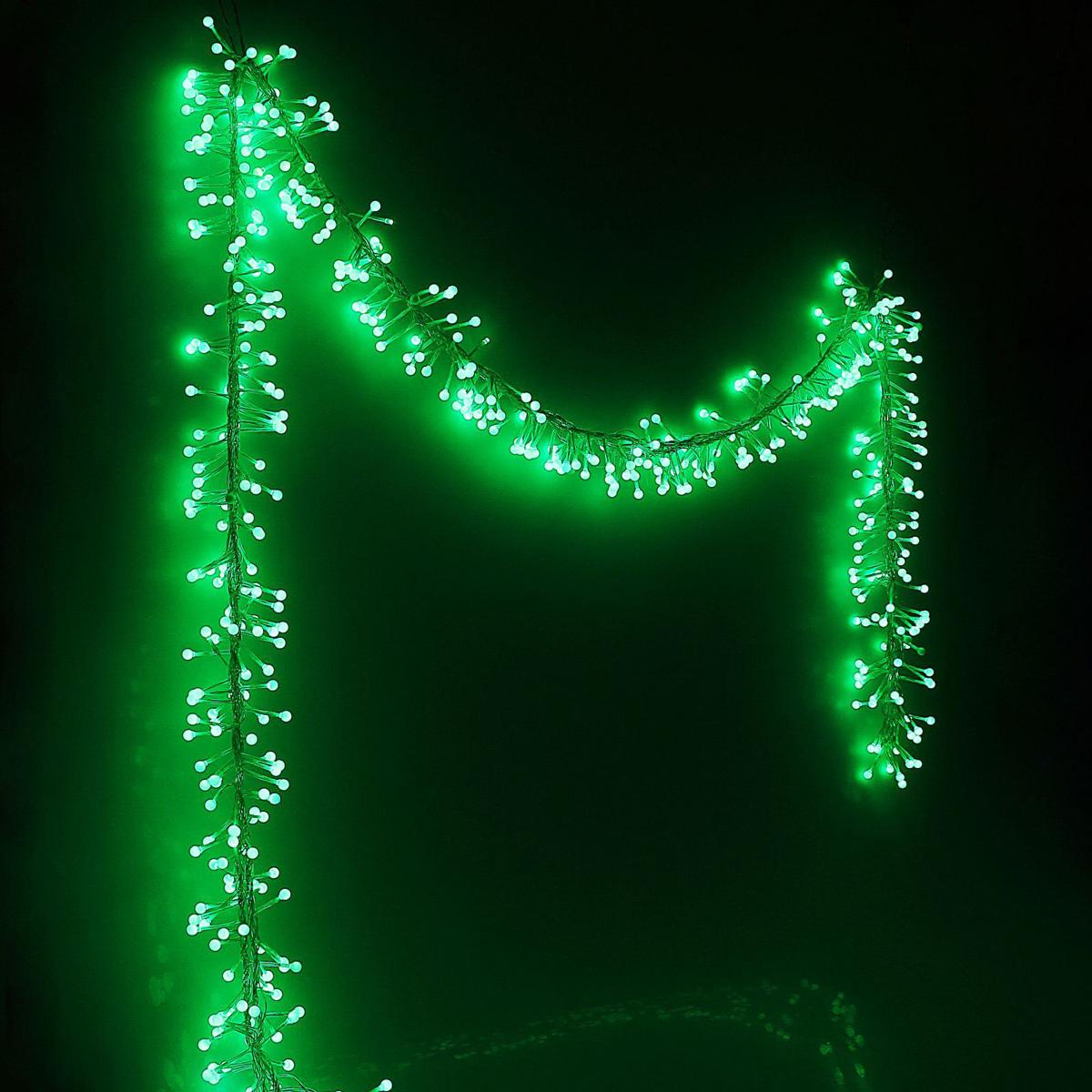 Гирлянда светодиодная Luazon Метраж, уличная, фиксинг, 576 ламп, 220 V, 6 м, цвет: зеленый. 10803371080337Светодиодные гирлянды, ленты и т.д. — это отличный вариант для новогоднего оформления интерьера или фасада. С их помощью помещение любого размера можно превратить в праздничный зал, а внешние элементы зданий, украшенные ими, мгновенно станут напоминать очертания сказочного дворца. Такие украшения создают ауру предвкушения чуда. Деревья, фасады, витрины, окна и арки будто специально созданы, чтобы вы украсили их светящимися нитями.