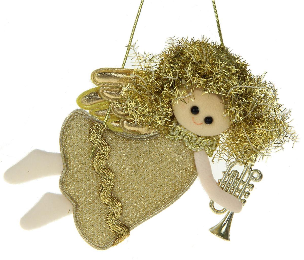 Новогоднее подвесное украшение Блеск. Фея, золотая труба1381189Новогоднее украшение ручной работы отлично подойдет для декорации вашего дома и новогодней ели. С помощью специальной петельки украшение можно повесить в любом понравившемся вам месте. Но, конечно, удачнее всего оно будет смотреться на праздничной елке.Елочная игрушка - символ Нового года. Она несет в себе волшебство и красоту праздника. Такое украшение создаст в вашем доме атмосферу праздника, веселья и радости.