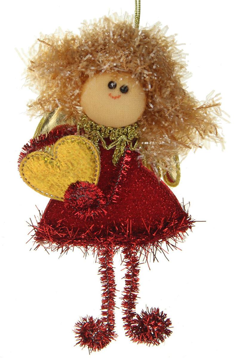 Новогоднее подвесное украшение Блесточка. Фея с сердечком в красном1381199Новогоднее украшение ручной работы отлично подойдет для декорации вашего дома и новогодней ели. С помощью специальной петельки украшение можно повесить в любом понравившемся вам месте. Но, конечно, удачнее всего оно будет смотреться на праздничной елке.Елочная игрушка - символ Нового года. Она несет в себе волшебство и красоту праздника. Такое украшение создаст в вашем доме атмосферу праздника, веселья и радости.