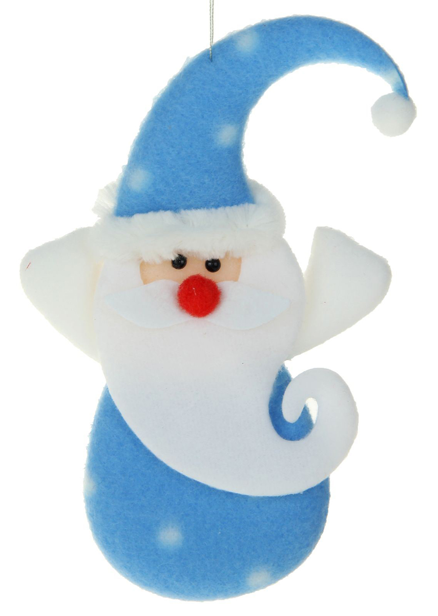 Новогоднее подвесное украшение Дед Мороз, цвет: голубой. 13811641381164Новогоднее украшение ручной работы отлично подойдет для декорации вашего дома и новогодней ели. С помощью специальной петельки украшение можно повесить в любом понравившемся вам месте. Но, конечно, удачнее всего оно будет смотреться на праздничной елке.Елочная игрушка - символ Нового года. Она несет в себе волшебство и красоту праздника. Такое украшение создаст в вашем доме атмосферу праздника, веселья и радости.