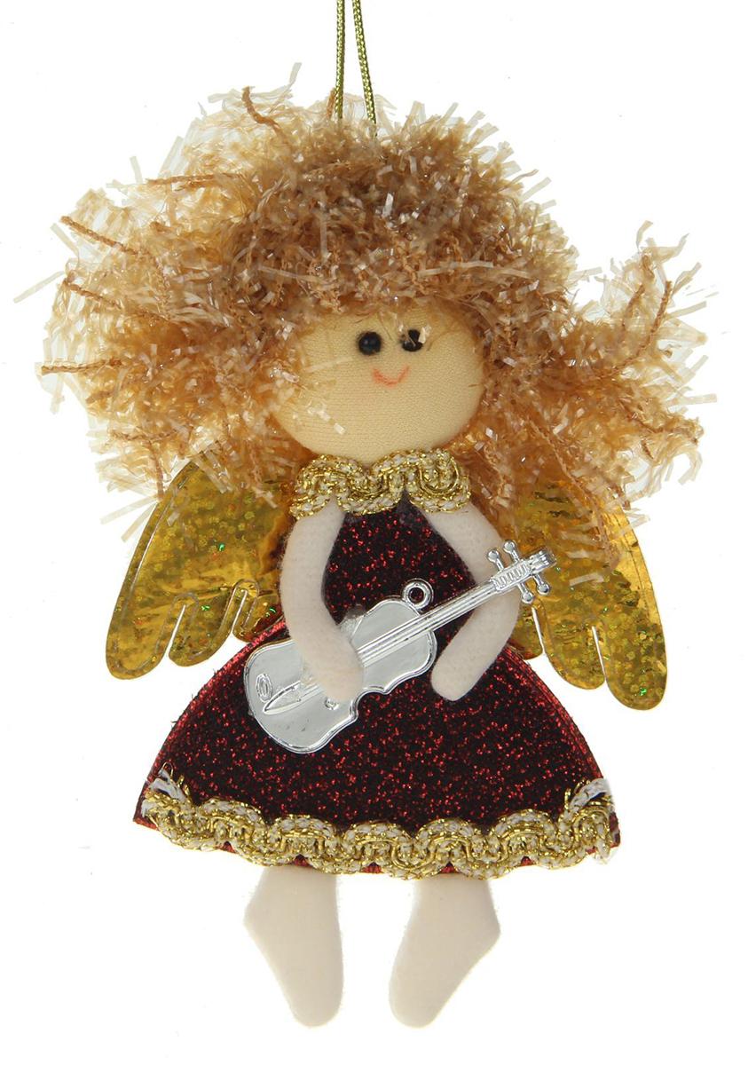 Новогоднее подвесное украшение Красная фея с гитарой1381193Новогоднее украшение ручной работы отлично подойдет для декорации вашего дома и новогодней ели. С помощью специальной петельки украшение можно повесить в любом понравившемся вам месте. Но, конечно, удачнее всего оно будет смотреться на праздничной елке.Елочная игрушка - символ Нового года. Она несет в себе волшебство и красоту праздника. Такое украшение создаст в вашем доме атмосферу праздника, веселья и радости.