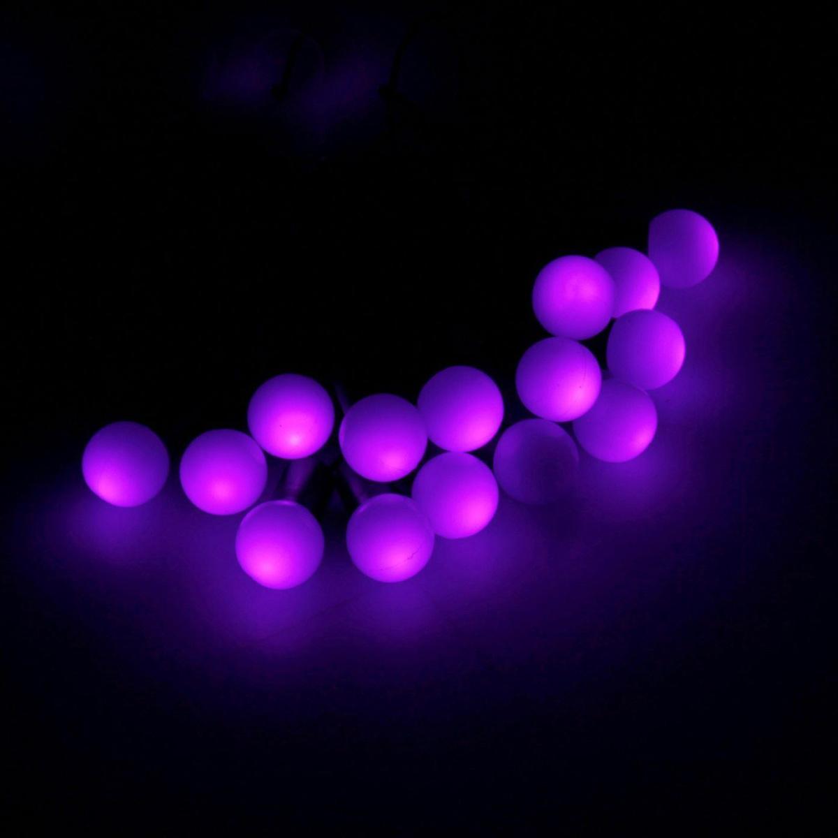 Гирлянда светодиодная Luazon Метраж. Шарики, уличная с насадкой, 8 режимов, 200 ламп, 20 м, цвет: фиолетовый. 185547185547Светодиодные гирлянды, ленты и т.д. — это отличный вариант для новогоднего оформления интерьера или фасада. С их помощью помещение любого размера можно превратить в праздничный зал, а внешние элементы зданий, украшенные ими, мгновенно станут напоминать очертания сказочного дворца. Такие украшения создают ауру предвкушения чуда. Деревья, фасады, витрины, окна и арки будто специально созданы, чтобы вы украсили их светящимися нитями.