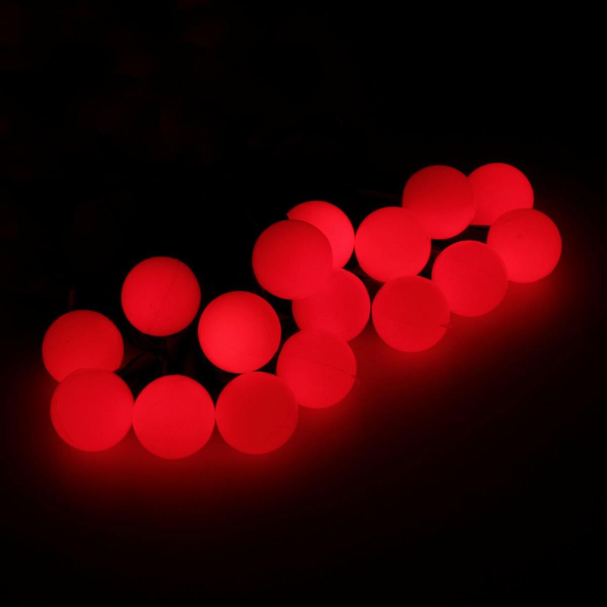 Гирлянда светодиодная Luazon Метраж. Шарики, уличная с насадкой, 8 режимов, 50 ламп, 220 V, 6 м, цвет: красный. 538713 гирлянда luazon дождь 2m 6m multicolor 671678