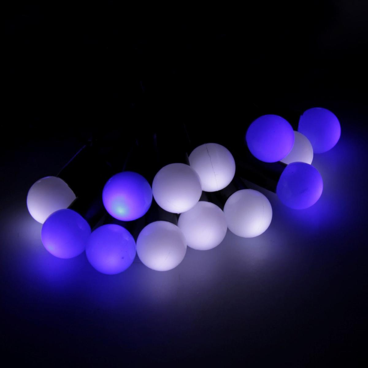 Гирлянда светодиодная Luazon Метраж. Шарики, уличная с насадкой, моргает, 50 ламп, 220 V, 6 м, цвет: синий. 185530185530Светодиодные гирлянды, ленты и т.д. — это отличный вариант для новогоднего оформления интерьера или фасада. С их помощью помещение любого размера можно превратить в праздничный зал, а внешние элементы зданий, украшенные ими, мгновенно станут напоминать очертания сказочного дворца. Такие украшения создают ауру предвкушения чуда. Деревья, фасады, витрины, окна и арки будто специально созданы, чтобы вы украсили их светящимися нитями.