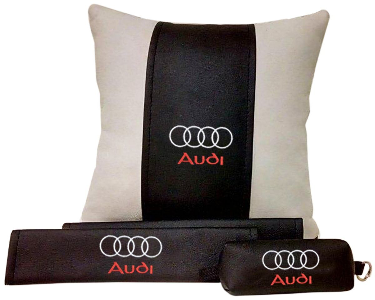Подарочный набор автомобилисту Auto Premium Audi, 3 предмета67601В набор входит: -подушка в салон автомобиля -накладки на ремень безопасности -ключница. На все изделия нанесена индивидуальная вышивка. При производстве используется качественная и износостойкая экокожа, что позволяет надолго сохранить презентабельный внешний вид любого изделия. Такой подарок не оставит равнодушным ни одного автолюбителя.