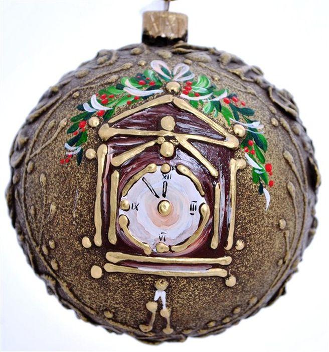 Украшение новогоднее подвесное Новогодние часы 2, ручная работа, диаметр 10 смH-100-0001-S-Новогодние часы 2Стеклянный елочный шар ручной ручной работы. Упакован в индивидуальную подарочную коробку.