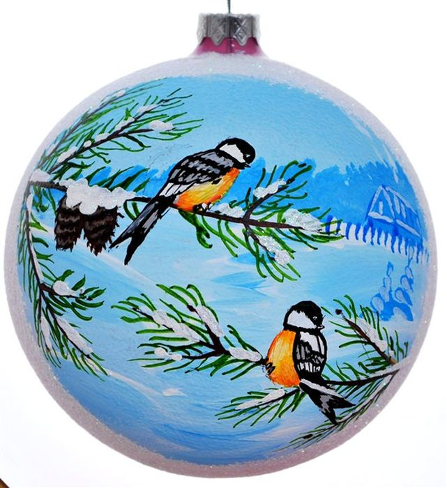 Украшение новогоднее подвесное Синицы, ручная работа, диаметр 10 смH-100-28154-N-Синицы