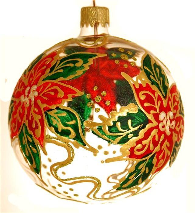 Украшение новогоднее подвесное Узор Рождественник, ручная работа, диаметр 8 смH-80-0000-N-Узор Рождественник д80мм
