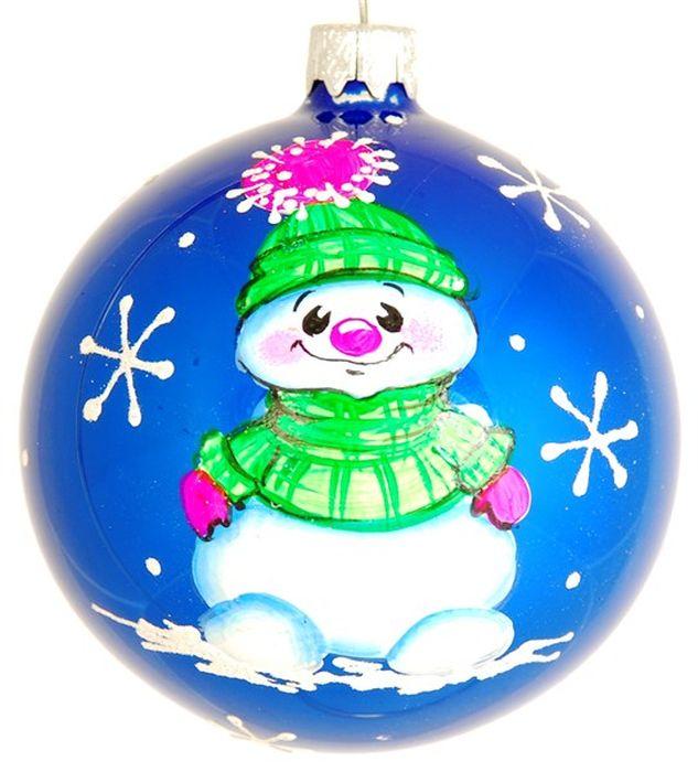 Украшение новогоднее подвесное Милый снеговик, ручная работа, диаметр 8 смH-80-260331-S-Милый снеговик